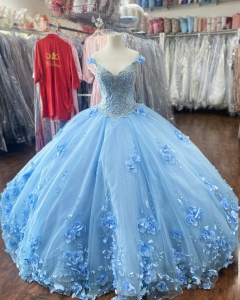 Pretty Light Blue 3D Flowers Quinceanera Dress with Cape