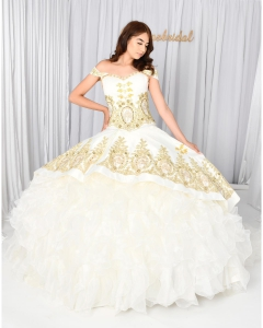 Cheap White and Gold Mexican Quinceanera Wedding Dress with Horse Partten