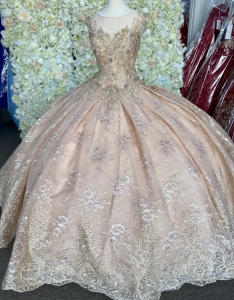 Sheer Neckline Rose Gold Lace Quinceanera Dress Corset Back