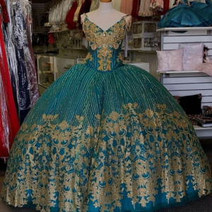 Glitter Tulle Emerald Green and Gold Quinceanera Dress with Train
