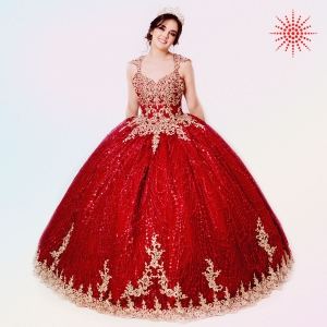 Cheap Red Glitter Tulle and Gold Quinceanera Dress Wholesale Price