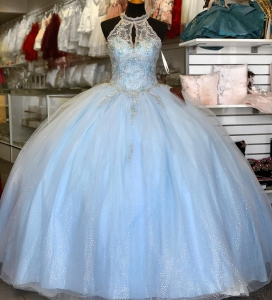 Inexpensive Baby Blue Puffy Keyhole Neck Quinceanera Dress
