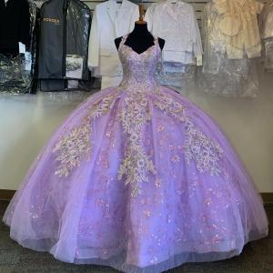 Light Purple Puffy Sequin Quinceanera Dress Lavender Sweet 16 Dress Wholesale