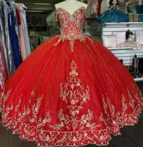 Elegant Red Off the Shoulder Quinceanera Dress with Gold Embroidery