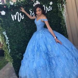 Perfect Sky Blue V-neck Lace Quinceanera Dress with 3D Flowers Popular