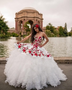 Sweetheart White Ruffles Quinceanera Dress with Red Floral Embroidery