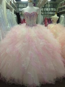 Cheap Rhinestone Beaded Bodice Tulle Ruffles Quinceanera Dress