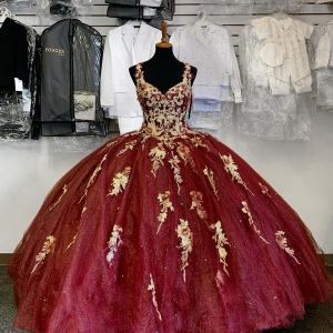 Modern Maroon Colored Big Skirt Quinceanera Dress with Gold Floral Appliques