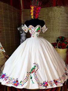 Mexican Quinceanera Prom Dresses Embroidery Flowers Sweet 16 Dress Vestidos 15 Anos