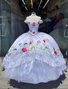 Customizable White Charro Quinceanera Dress with Colorful Embroidery and Back Bow