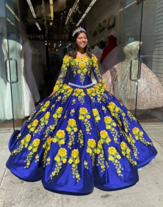 3D Royal Blue Charro Style Long Sleeve Quinceanera Dress with Yellow Flowers