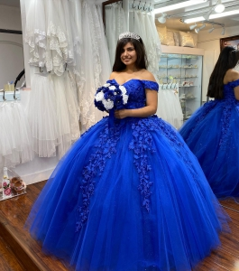 Discount royal Blue Glitter Tulle Off Shoulder Quinceanera Dress