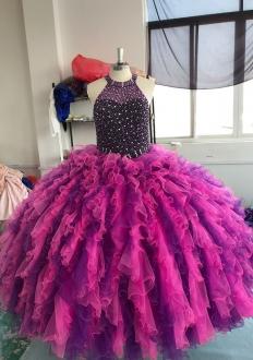 Elegant Two Tone Full Beaded Bodice Purple Quinceanera Dress with Ruffles