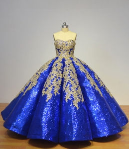 Glitter Sequined Royal Blue Puffy 3D Skirt Quinceanera Dress with Gold Appliques