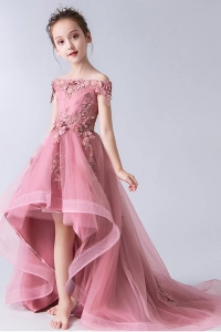 Pretty Rose Pink Off Shoulder High Low Pageant Dress for Kids