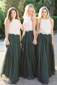 Two Piece White and Dark Green Lace Bridesmaid Dress Under 100