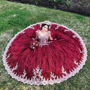 Sparkly Dark Red Beaded Quinceanera Dress Gold Beads vestido de 15 anos anos quinceanera