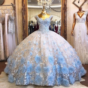Light Sky Blue 3D Flowers Quinceanera Dress Beads Off Shoulder Cap Sleeves vestido de 15 anos