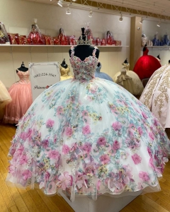 Beautiful 3D Floral Flowrs Quinceanera Dress Poofy Skirt Colorful vestidos de 15 anos