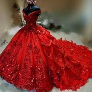Luxury Red Off the Shoulder Puffy Tiered Skirt Quinceanera Dress Sequins Applique Beaded vestidos de 15 años