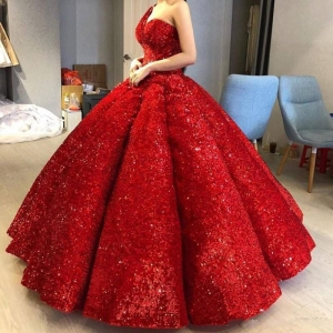 Stunning Sparkly One Shoulder Sequined Quinceanera Dress Ruched Red Puffy vestido de 15 anos