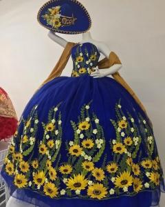 Mexico Theme Sunflower Embroidery Quinceanera Dress vestidos de 15 anos 2021 bestidos para 15 anos