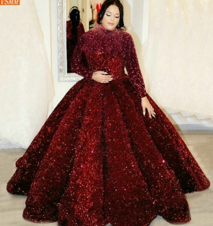 Dubai Sequined Evening Dress Fluffy Sparkly Muslim Women Long Sleeves Custom Made Robe De Soiree