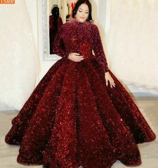 Dubai Sequined Evening Dress Fluffy Sparkly Muslim Women Long Sleeves Custom Made Robe De Soiree