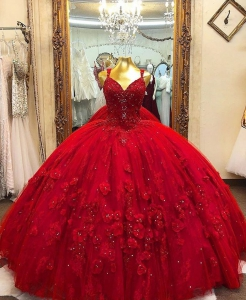 Chic Red Quinceanera Dress 3D Floral Flowers Long Puffy Party Gowns V-neck vestidos de 15 anos