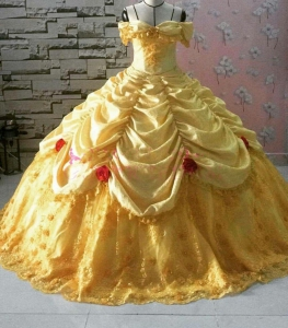 Yellow Retro Royal Rufles Skirts Off The shoulder Quinceanera Dress With 3D Flora Appliques