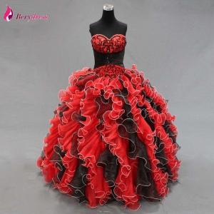 Red and Black Reffuled Sweetheart Quinceanera Dress with Embroidery