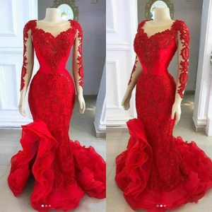 Long Sleeve Red Mermaid Evening Dress Sheer Neckline Low Split Sweep Train