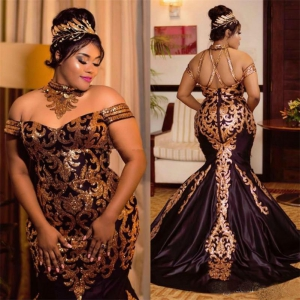 Sparkly Gold Sequined Black Mermaid Plus Size Evening Dress African Dress with Train