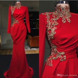 High Collar Red Mermaid Long Sleeve Evening Dress with Gold Lace Appliqued Vestidos de gala