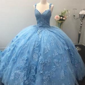 Light Sky Blue Puffy Quinceanera Dress with 3D Lace Appliques Vestidos De Quinceanera