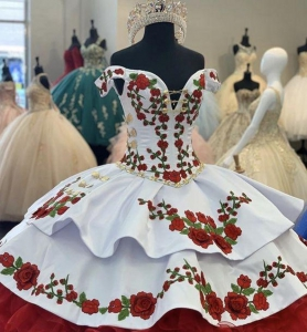 Western Embroidery Charro Quinceanera Dress Off The Shoulder Bow Tiered Satin
