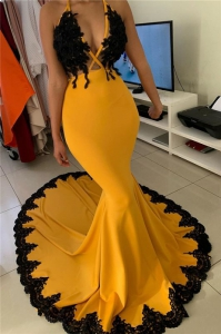 Sexy Yellow Staps Mermaid Tight Prom Dress with Black Appliques