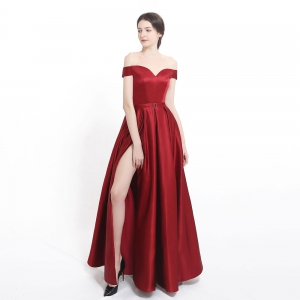 Simple Sexy Off Shoulder Side High Slit Satin Red Prom Dress with Pockets