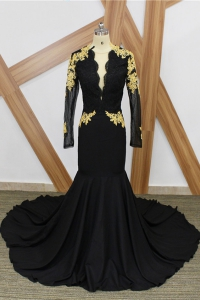Vintage Black Deep-V High Neckline Long Sleeves Velvet Prom Dress with Train
