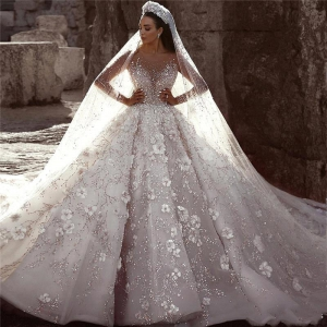 Luxury Court Crystals Long Sleeve Wedding Dress Beaded Flowers Rhinestones Long Train