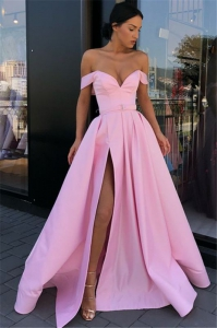 Cheap Candy Pink Sexy Off The Shoulder Side Slit Homecoming Dress