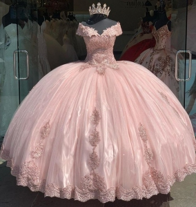 Modest Appliques Quinceanera Dress Off the Shoulder Cap Sleeves Lace Sweet 16 Dress