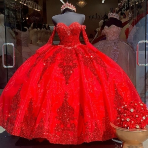 Red Organza Sequined Applique Quinceanera Dress Removable Sleeves Mexican Girl Birthday Gown