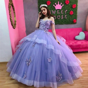 Lilac Off Shoulder Two Layers Quinceanera Dress with Floral Appliques
