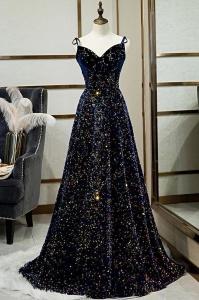 Shunning Spaghetti Straps Dark Blue Sequin Bling Bling Prom Dress
