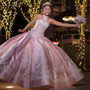 Pink Halter Princess Puffy Satin Quinceanera Dress Lace Appliques