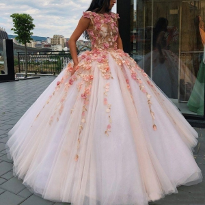 Pretty Princess 3D Floral Flowers Quinceanera Dress with Tulle Puffy Skirt