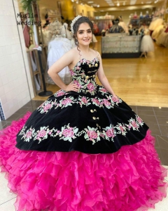 Mexican Quinceanera Dress Embroidery Hot Pink and Black Velvet Sweet 16 Dress Masquerade Extra Puffy