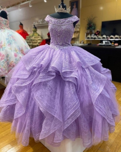 Lavender Fully Lace vestidos de 15 anos Puffy Ruffled Quinceanera Dress Off Shoulder
