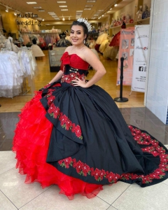 2021 Puffy Charro Quinceanera Dress Best Floral Embroidery Black And Red Sweet 16 Dress